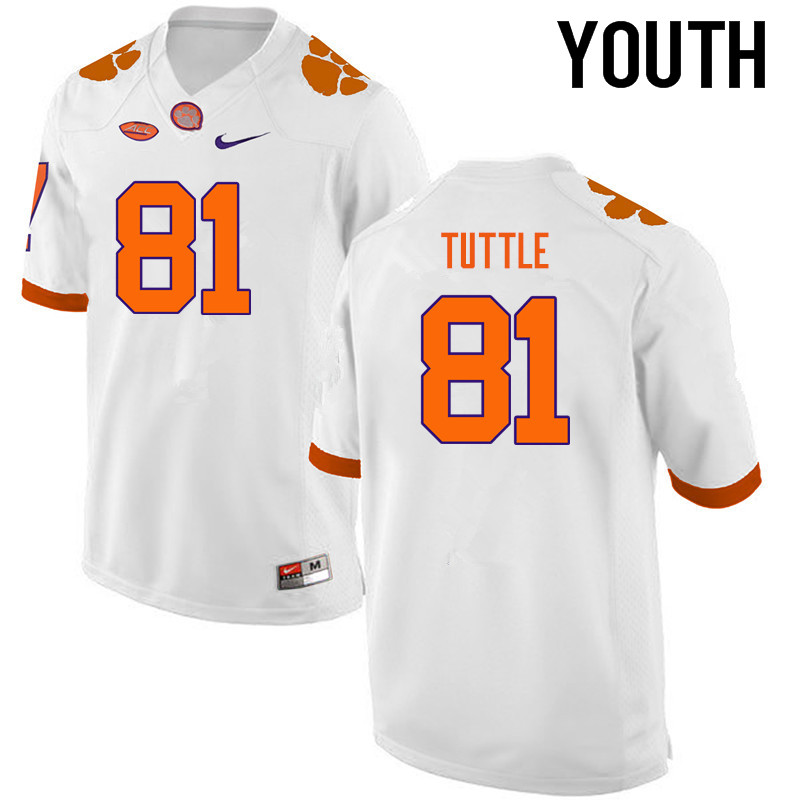 Youth Clemson Tigers #81 Kanyon Tuttle College Football Jerseys-White